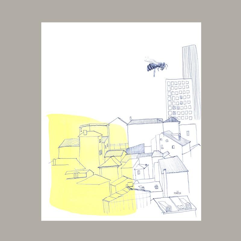 Teatowel L'abeille et la ville